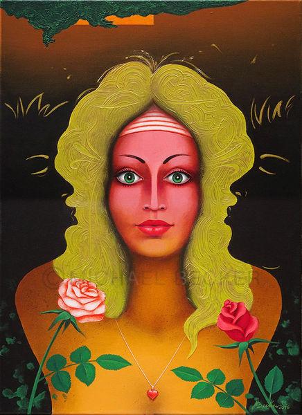 Frauenportrait, Mann, Kuss, Rose, Malerei