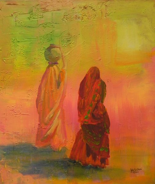 Kultur, Indien, Acrylmalerei, Festival, Frau, Malerei