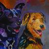 Gemälde, Hund, Schäferhund, Freunde