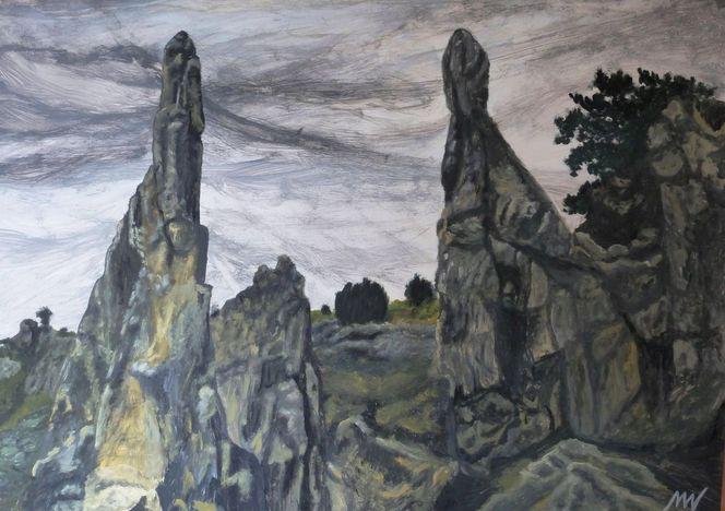 Schwäbische alb, Esel, Landschaft, Wolken, Gewitter, Felsnadeln