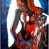Blau, Weiß, Abstrakt, Acrylmalerei