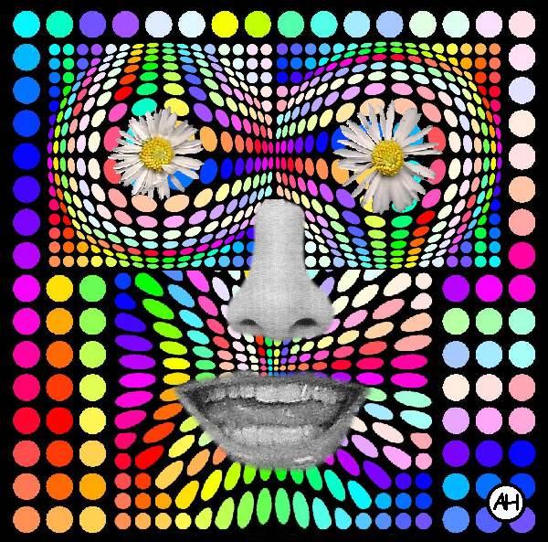 Popart, Geometrisch, Blumenkraft, Nase, Digitale kunst