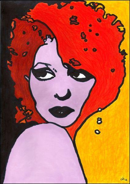 Rot schwarz, Schulter, Gold, Frau, Illustrationen