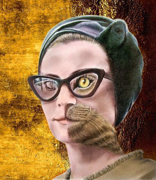 Brille, Katze, Frau, Mischtechnik