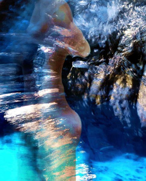 Strudel, Körper, Wasser, Rauschen, Mischtechnik