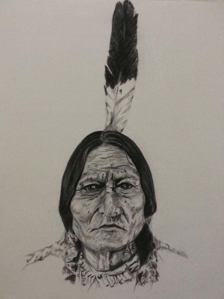 Menschen, Sittingbull, Malerei, Wild, Kreide, Schwarz weiß