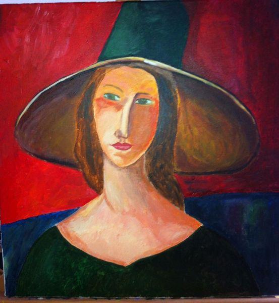 Malerei, Hut, Mädchen