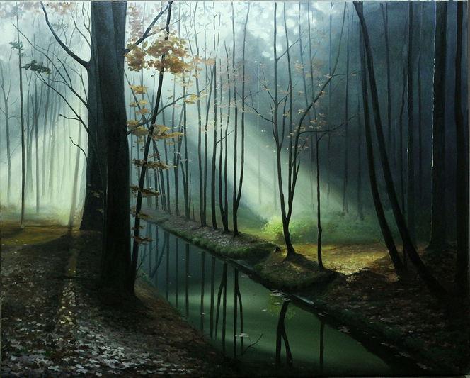 Landschaft, Licht, Wald, Malerei