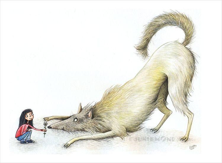 Wolf, Blumen, Spielaufforderung, Mädchen, Play bow, Hund