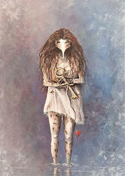 Kleid, Transparenz, Wasser, Weiß, Haare, Maske