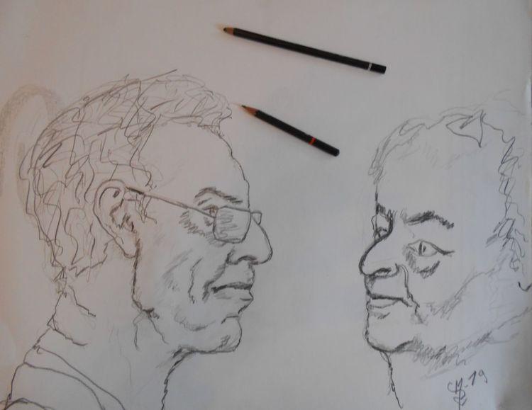 Zeichnung, Skizze, Menschen, Charakterstudie, Zeichnungen, Geschwister