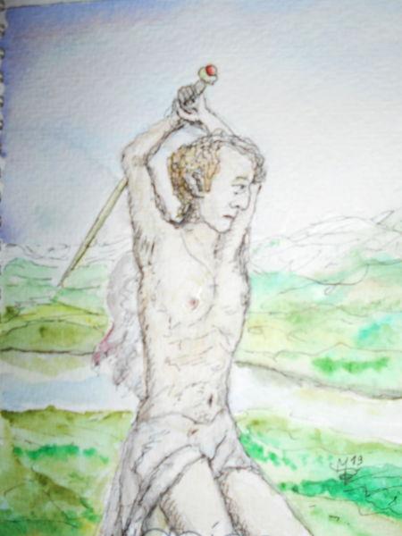 Dragonslayer, Kriegerdenkmal obermylau, Drache, Aquarell