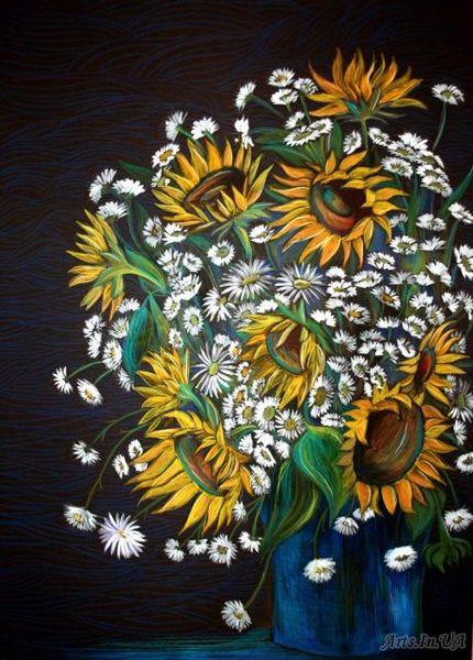 Sonnenblumen, Kamille, Gouachemalerei, Vase, Stillleben, Blumen