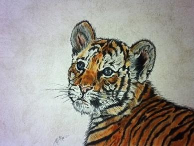 Tierzeichnung, Pastellmalerei, Tigerbaby, Tigerzeichnung, Zeichnungen, Sehnsucht