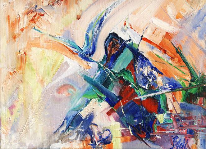 Ölmalerei, Vogel, Freiheit, Abstrakt, Malerei