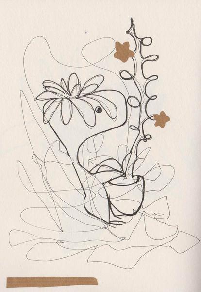 Tuschmalerei, Gärtner, Fantasie, Blumen, Zeichnungen,