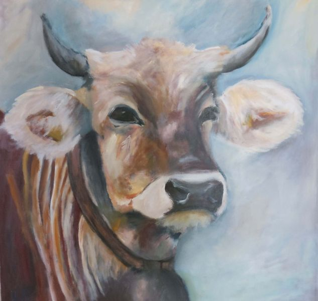 Bauernhof, Tierpotrait, Acrylmalerei, Tiere, Kuh, Malerei