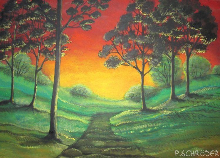 Dämmerung, Landschaftsmalerei, Weg, Silhouette, Abendrot, Landschaft