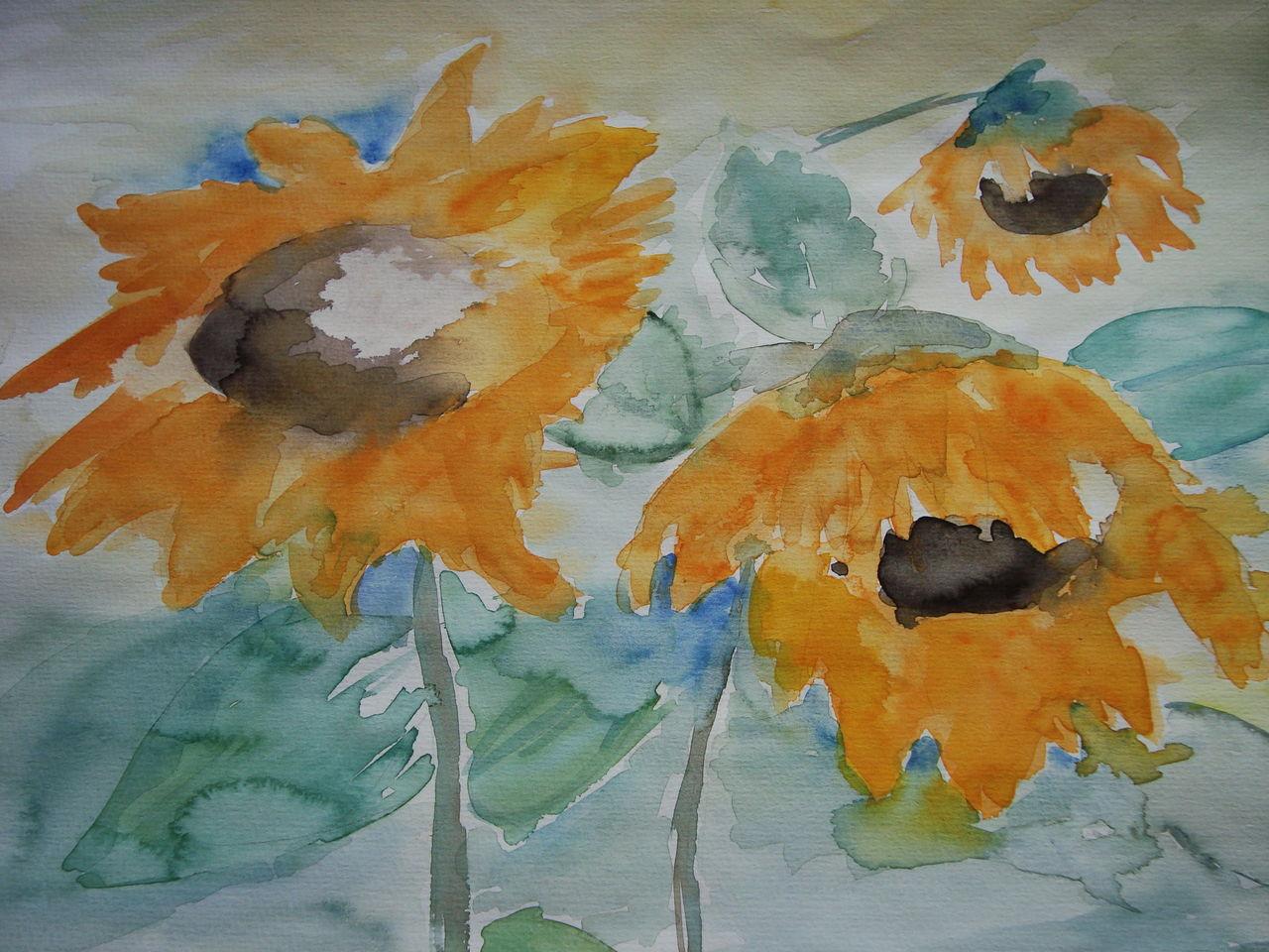 bild sonnenblumen aquarell pflanzen von jgasser bei. Black Bedroom Furniture Sets. Home Design Ideas