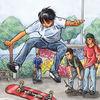 Skating, Skateboard, Aquarell