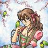 Vogel, Kitsch, Lovebirds, Kirschblüten