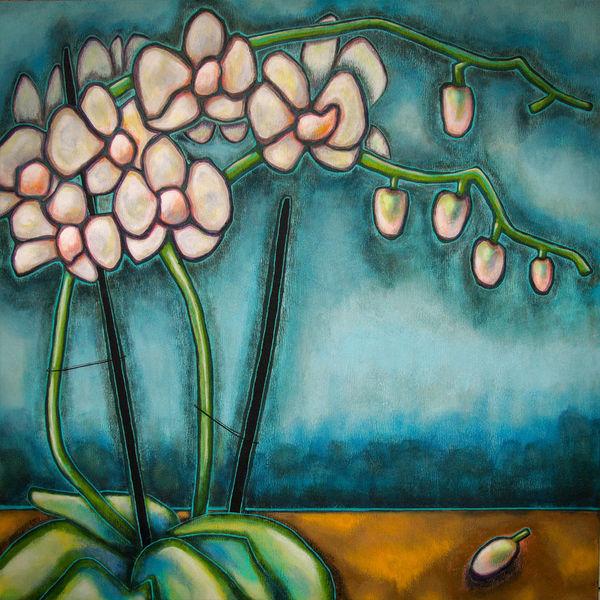 Orchidee, Stillleben, Pflanzen, Malerei