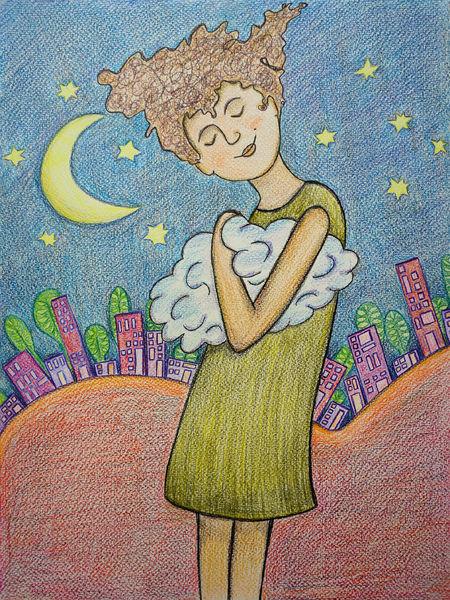 Traum, Mond, Träumerin, Stadt, Wolken, Nachthimmel