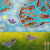 Garten, Vogel, Baum, Malerei