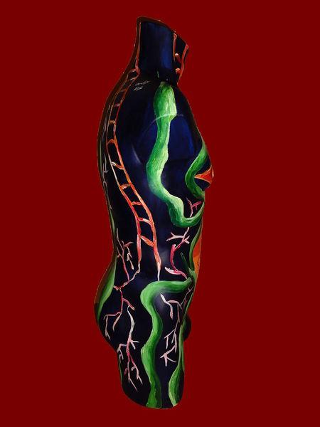 Acrylmalerei, Torso, Figur, Fantasie, Malerei, Seitenansicht