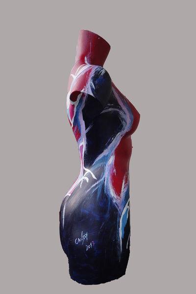 Torso, Abstrakt, Figur, Acrylmalerei, Malerei, Seitenansicht
