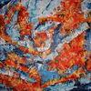 Eis, Acrylmalerei, Orange, Feuer