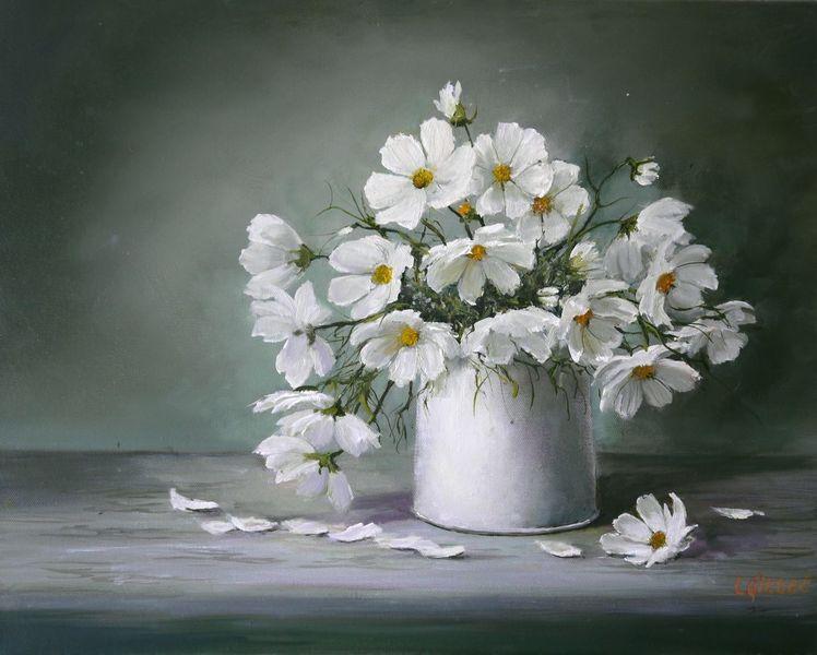 Blumenstrauß, Stillleben, Blumen, Schmuckkörbchen, Ölmalerei, Malerei