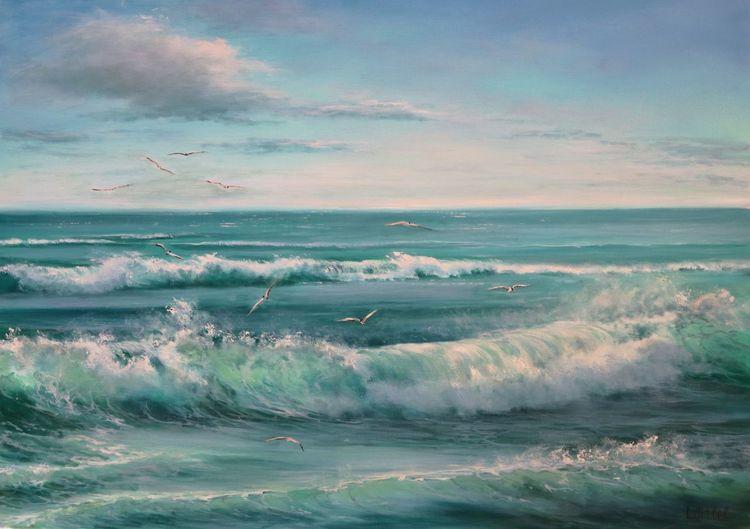 Blau, Wasser, Himmel, Meerlandschaft, Die welle, Strand