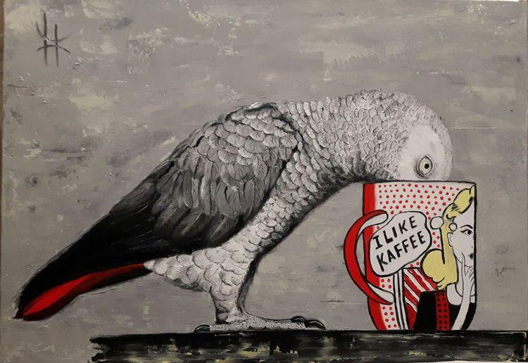 Tiere, Malerei, Ölmalerei, Papagei, Kaffee