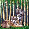Malerei, Tiger, Bambus
