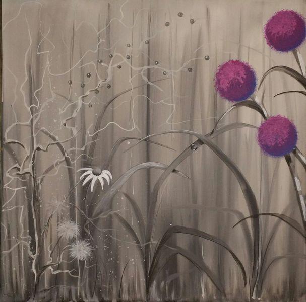 Natur, Malerei, Grau, Tautropfen, Blumen, Schwarz weiß