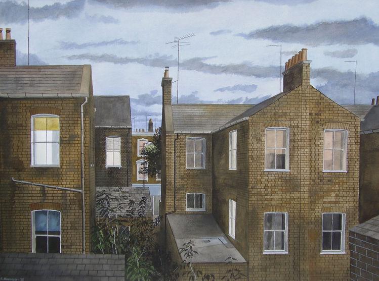 Blau, Stadt, Morgen, Aquarellmalerei, Realismus, London