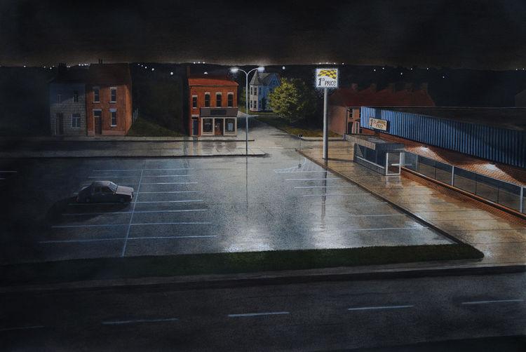 Realismus, Malerei, Regen, Nacht, Schatten, Aquarellmalerei
