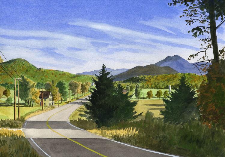 Vermont, Licht, Gelb, Berge, Weg, Sonne