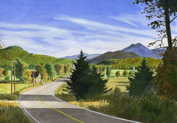 Amerika, Landschaft, Blau, Aquarellmalerei, Usa, Herbst