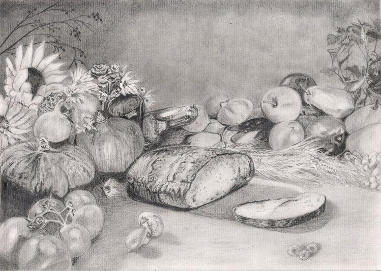 Birne, Kartoffeln, Tomate, Brot, Kürbisse, Zwiebeln