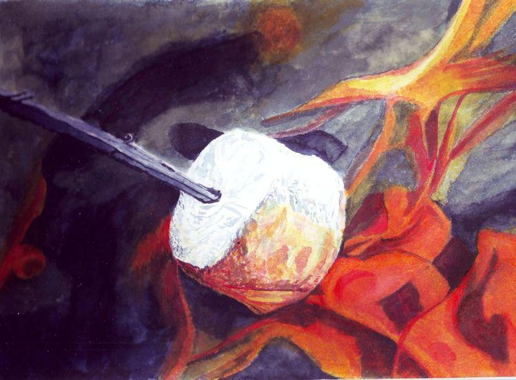 Feuer, Stock, Rösten, Zeichnungen, Inktober