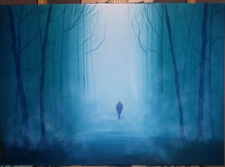 Wald, Lichtmalerei, Fantasie, Stille, Schweigen, Acrylmalerei