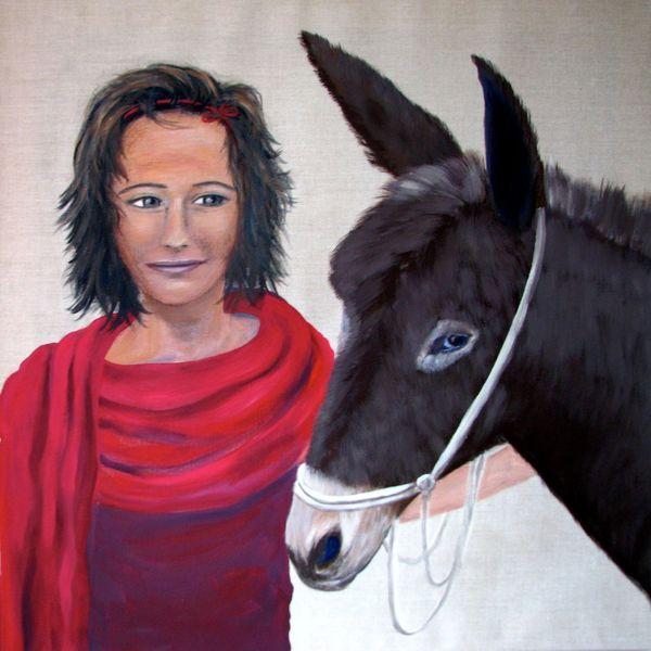 Esel, Kinder, Mädchen, Freundschaft, Malerei