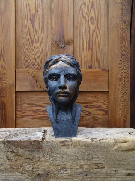 Statue, Figural, Schwarz, Büste, Akt, Figur