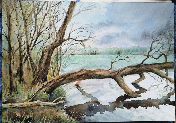 Baum, Wolken, Aquarell