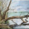 Wolken, Baum, Aquarell