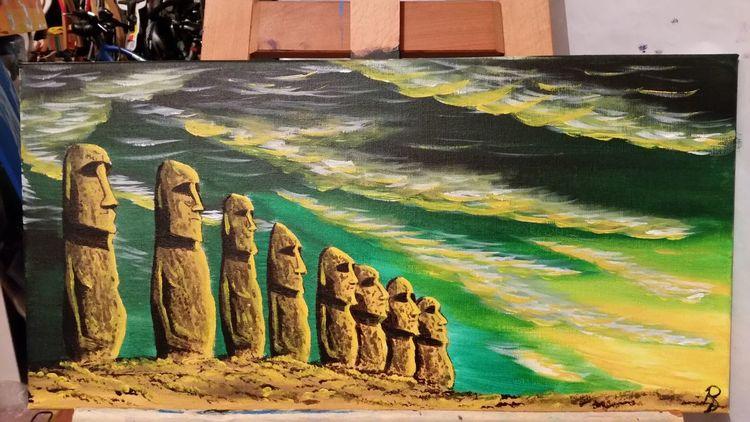 Osterinsel, Acrylmalerei, Landschaft, Steinfiguren, Malerei