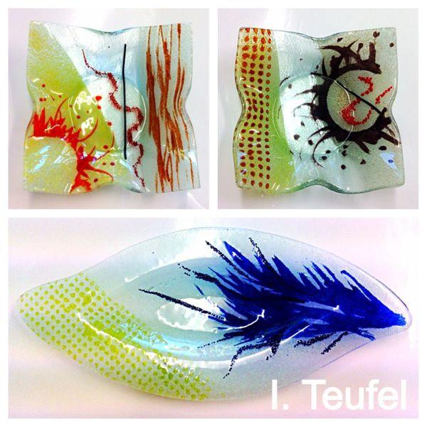 Glasschale, Schale, Modern, Glasschalen, Bunt, Glas