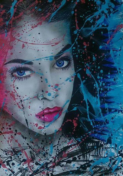 Abstrakt, Bleistiftzeichnung, Grafit, Portrait, Zeichnung, Buntstiftzeichnung